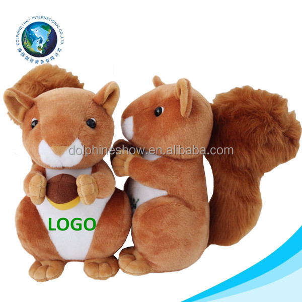 Professional manufacturer stuffed squirrel with logo for kid custom cartoon soft plush brown squirrel toy