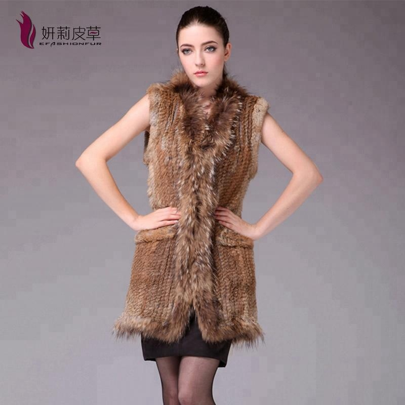 Trendy long knitted waistcoat women rabbit fur vest with pocket
