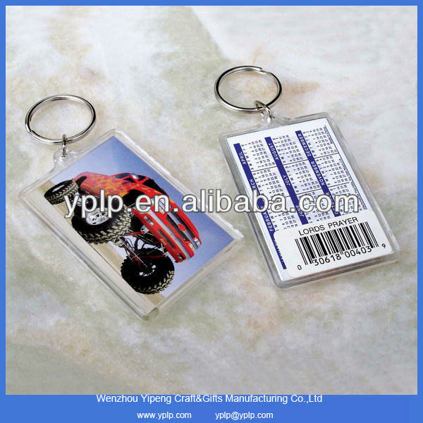 Hot-sale custom blank plastic clear acrylic key chain key tag wholesale with car logo
