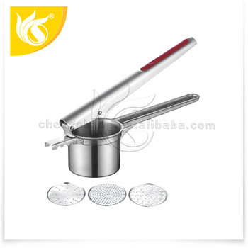 Stainless steel potato ricer with 3 disks potato puree maker