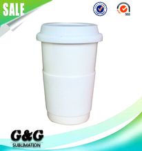 Take Away Ceramic Coffee Cup Sublimation Mug Blanks with Silicone Lid