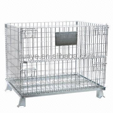 Foldable bulk mesh cage with front door/China Factory steel folding container used with forklift track