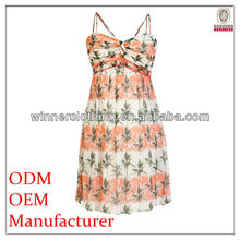 New Style Spaghetti Strap Sweetheart Tropical Print Summer Beach Party Dress