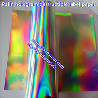 Latest Max width 76.5cm plain holographic feature hologram security destructible vinyl film in sheets&rolls