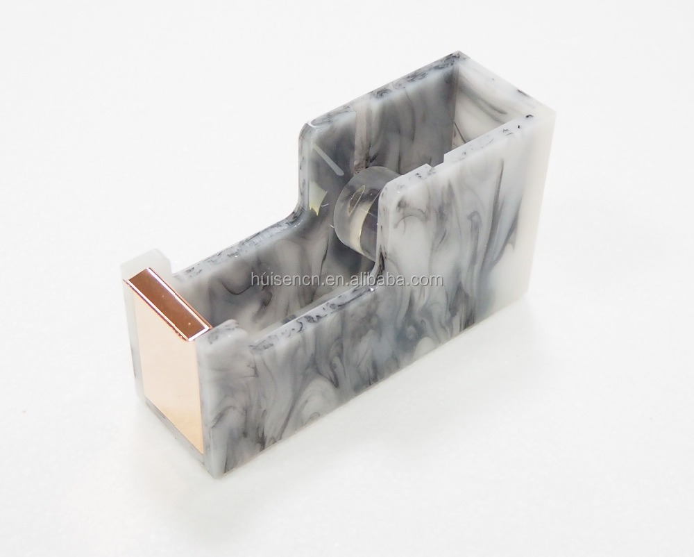 Clear acrylic marble office tape dispenser school stationery golden stapler pencil holder