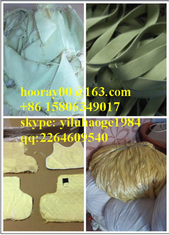 OPENING -Sample aramid synthetic fiber waste, Recycled 100% kevlar para aramid fiber waste ,100% Twaron Para Aramid Fiber waste