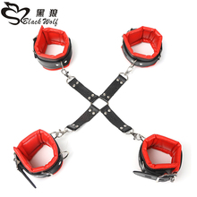 3 parts / set Handcuffs Wrist & Ankle Cuffs, Soft Sex Flirt Toy Kit Intimate Contact Adjustable Sexual Support Adult Games