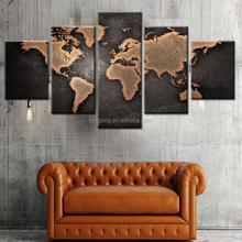 Bedroom Decoration 5piece map printed canvas wall picture,group painting