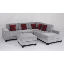 big sectional corner silver sofa with ottoman
