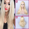 china supplier 2016 top sale virgin human hair silk top lace wig/full lace wigs brazilian hair 613# golden color