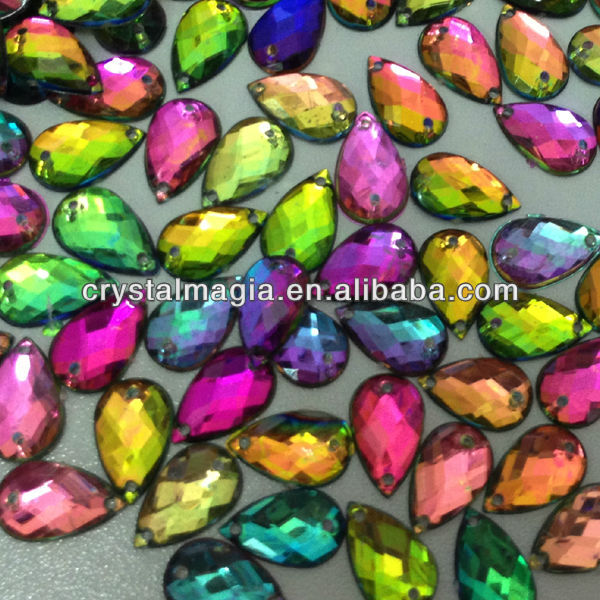 Rainbow color teardrop acrylic rhinestones flat back