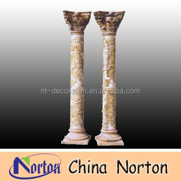 marble column with flower decorative carved NTMF-C105