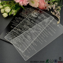 Cheap online hot selling acrylic invitations for wedding / birthday party