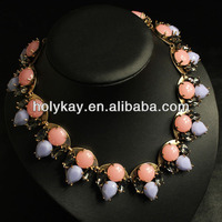 2014 fashion imitation jewellery designs, elegant resin beads and alloy statement necklace