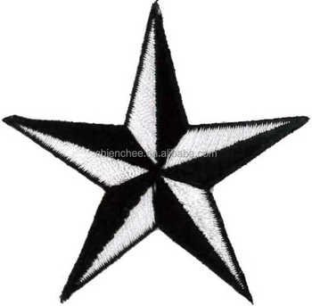 Embroidery Appliques - Self Adhesive Black/white Star For ...