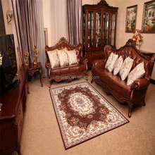 Coffee Color Cover Iranian Silk Tufting Machine 100 % Polyester Jacquard Carpet For Living Room