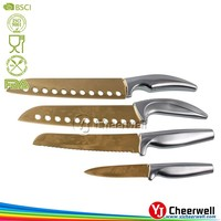 golden color titanium knife set, SS handle chef knife