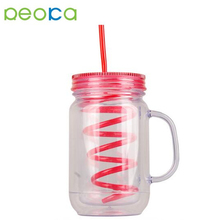 16oz Bpa Free Double Wall Plastic Mason Jar 86mm Mouth Mason Jar 400ml Mason Jar Drinking Glass