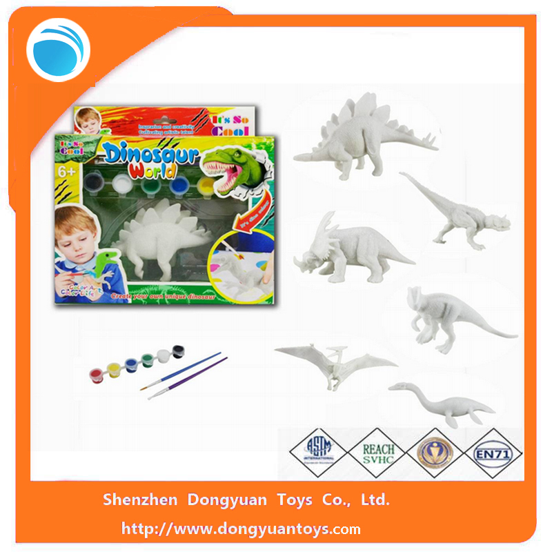 Blank Color Vinyl Dinosaur DIY Painting Toys For Children