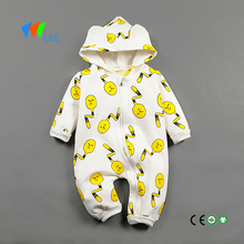 baby full printing thick cotton romper hoodie jumpsuit