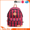 Wool top quality backpack durable fashion plaid design school girl bag