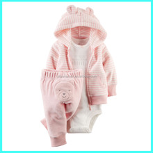 Hot selling bright pink zip front baby terry cardigan pant set Baby Carter Clothes