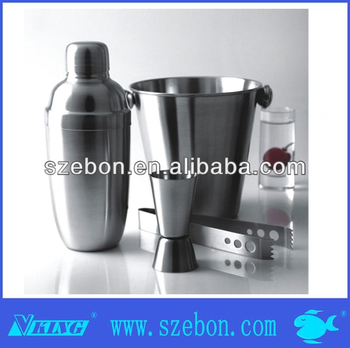 Luxury stainless steel cocktail shaker Set with ice bucket/ ice tong/cocktail shaker