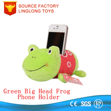 OEM Plush Green Big Head Frog Stuffed Cartoon Animal Toy Sofa Phone Stand Holder