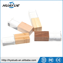 DIY Customized Company LOGO Wooden Crystal USB Flash Drive Memory 2.0 Pendrive
