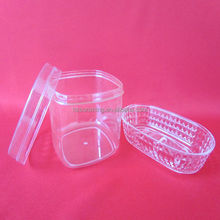 Clear round plastic container with lid