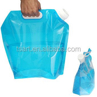5L Folding Stand up Plastic Spout Drinking Water Container Bags with Portable Handle