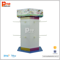 innovative hexahedral rotated spinning cardboard counter top pop displays with peg hooks for accessories