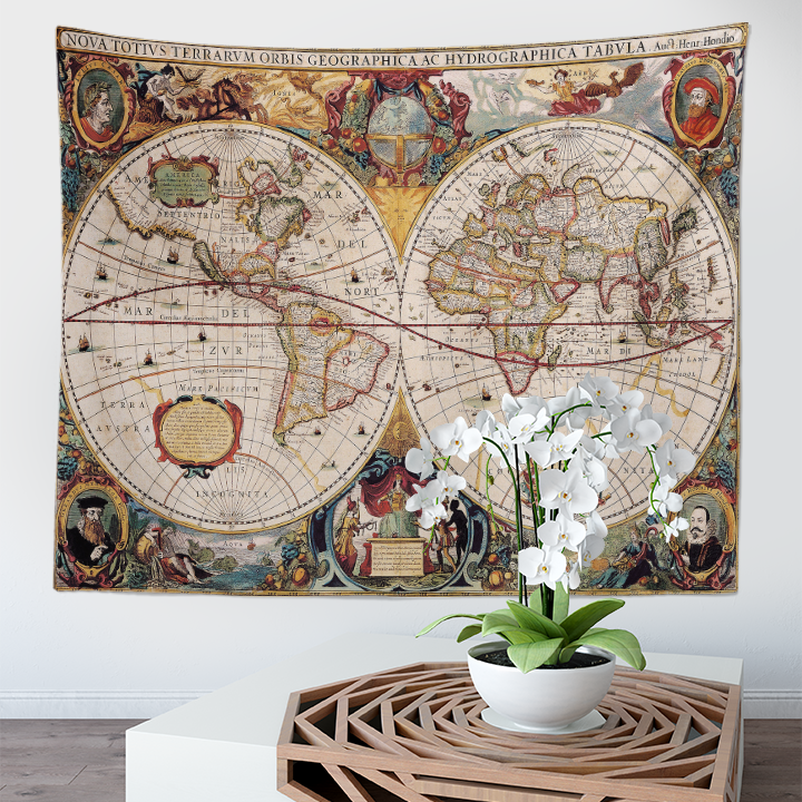 Factory Direct Sale Drop Ship Cheap Custom Made 100% Polyester World Map Wall Hanging Tapestry