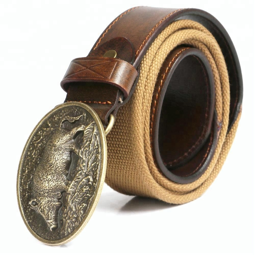 HIBO wild boar pattern brass buckle mens genuine leather <strong>belt</strong>
