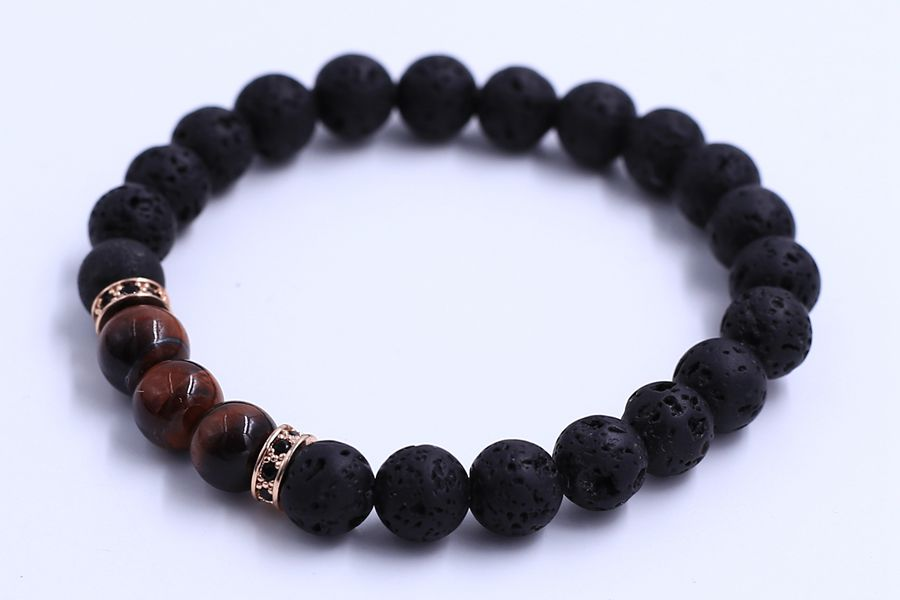 Barbecue Rock Jewelry Making Lava Men's Black Natural Lava Rock Gems Stone Bracelet