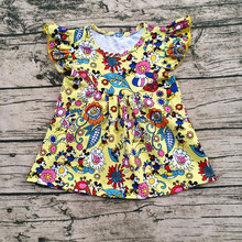 Wholesale Boutique Clothes Summer Lovely Baby Printing Dresses Kids Floral Frocks Design for Little Girl Dresses