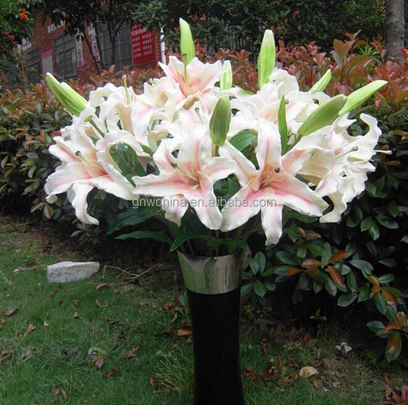 GNW FL-LY92-2-23CM Hot Selling 92cm Fake Lily Flowers PU Real Touch White Pink Flower