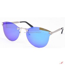 Rimless sunglasses fashion with diamond and TAC polarised blue mirror lens