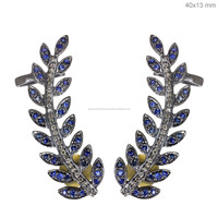 14k Yellow Gold Blue Sapphire Diamond Leaf Ear Cuffs Silver Gemstone Jewelry Manufacturer