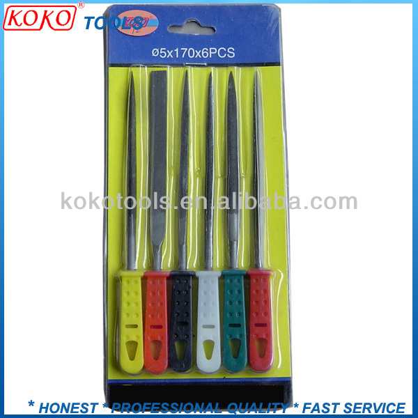 Nice six different color plastic handle sliding card packing needle files set