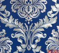 Long life damask wallpaper rolls with glue