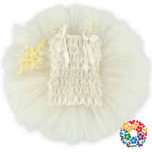 2016 New Design white lace Top Tutu Dress,Children Clothes tutu Lace top fluffy baby tutu girls tulle lace dress