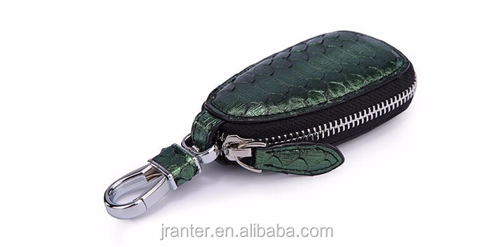 Custom High Quality Python snakeskin Leather Car Key Wallet Leather Key Pouch for Car