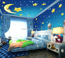 Hight quality 3d carton mural wallpaper with moon and star designs