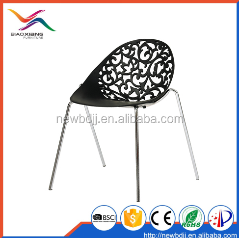 Factory Cheap Price Black Plastic Dining Chair With Chromed Metal Leg