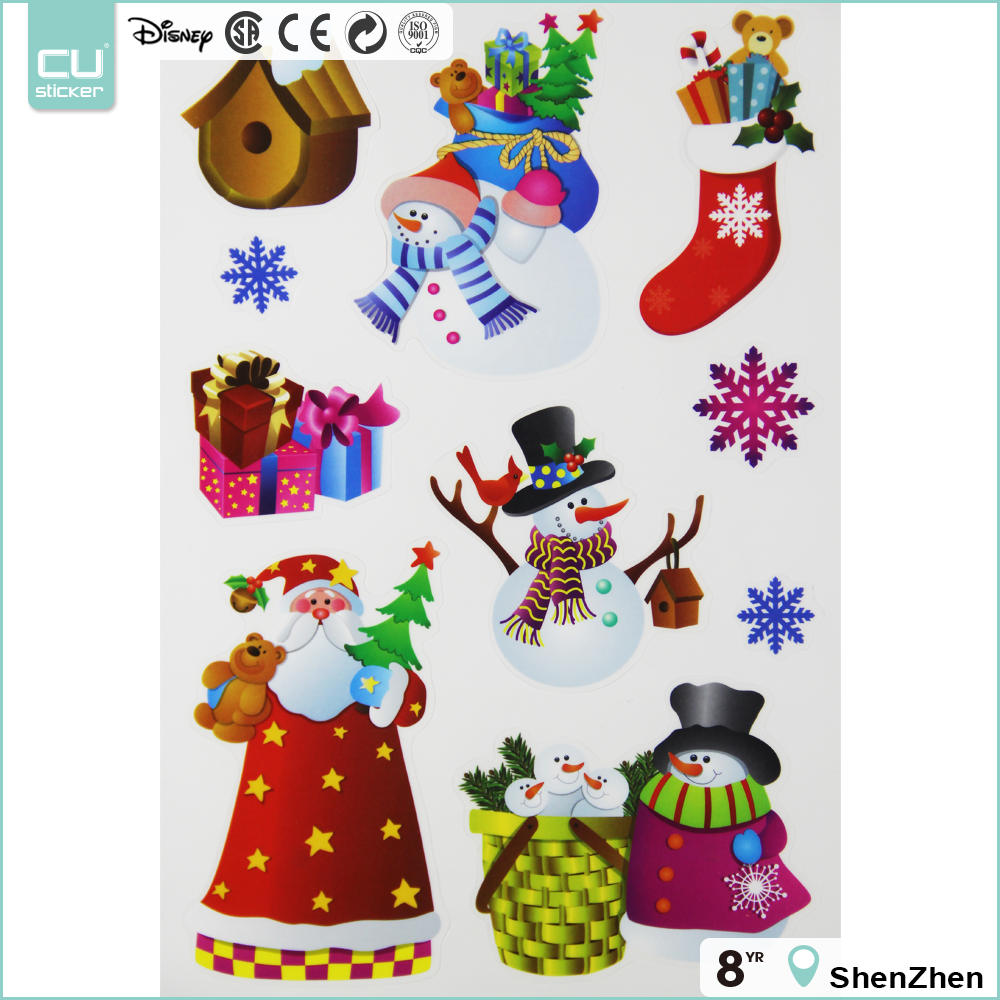 Hot selling Christmas decor electrostatic stickers for window