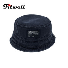 Fashion custom denim cotton plain bucket hats wholesale