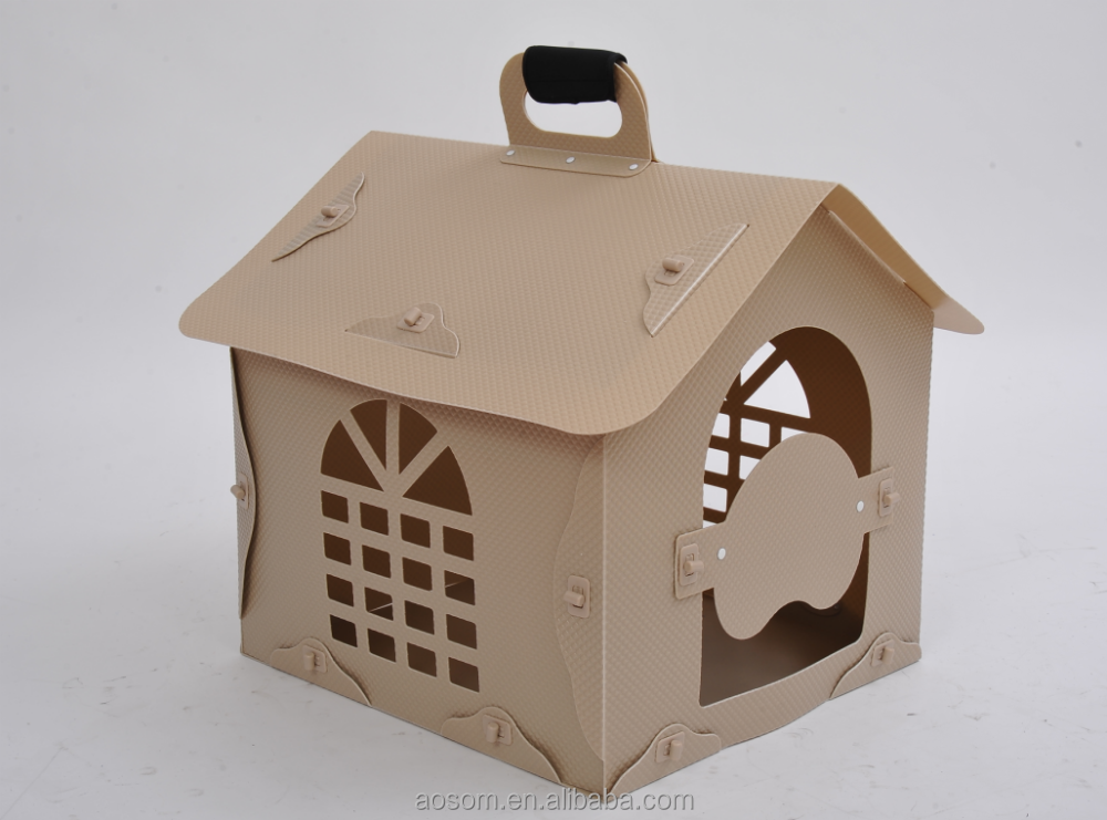 Pawhut Tan Portable Plastic Folding Carrying Travel Dog Cage Pet House Pet Dog Kennel