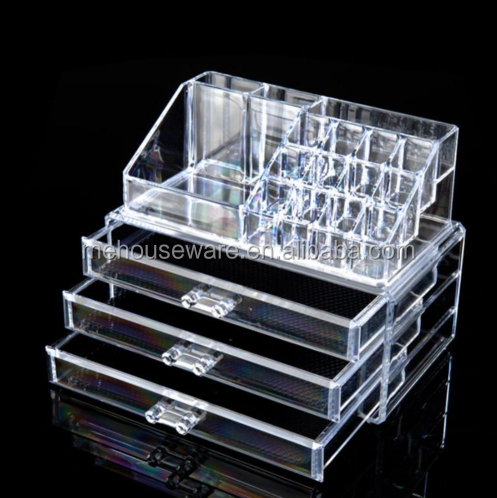M&E Best Seller Acrylic Cosmetic Makeup Organizer 3 Drawers for Gift Items Household