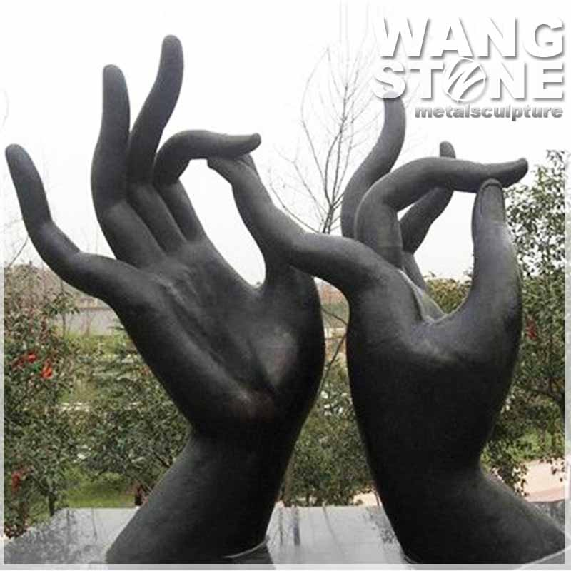 Large Outdoor Bronze Hand Sculpture